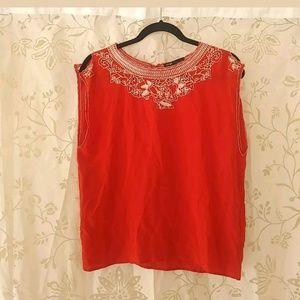 Maje Blouse size 1 Red 100% Silk Top Sleeveless